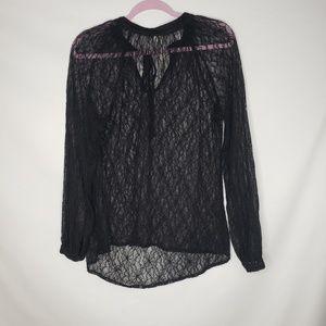 Bellatrix Black Lace Neck Tie Long Sleeve Blouse